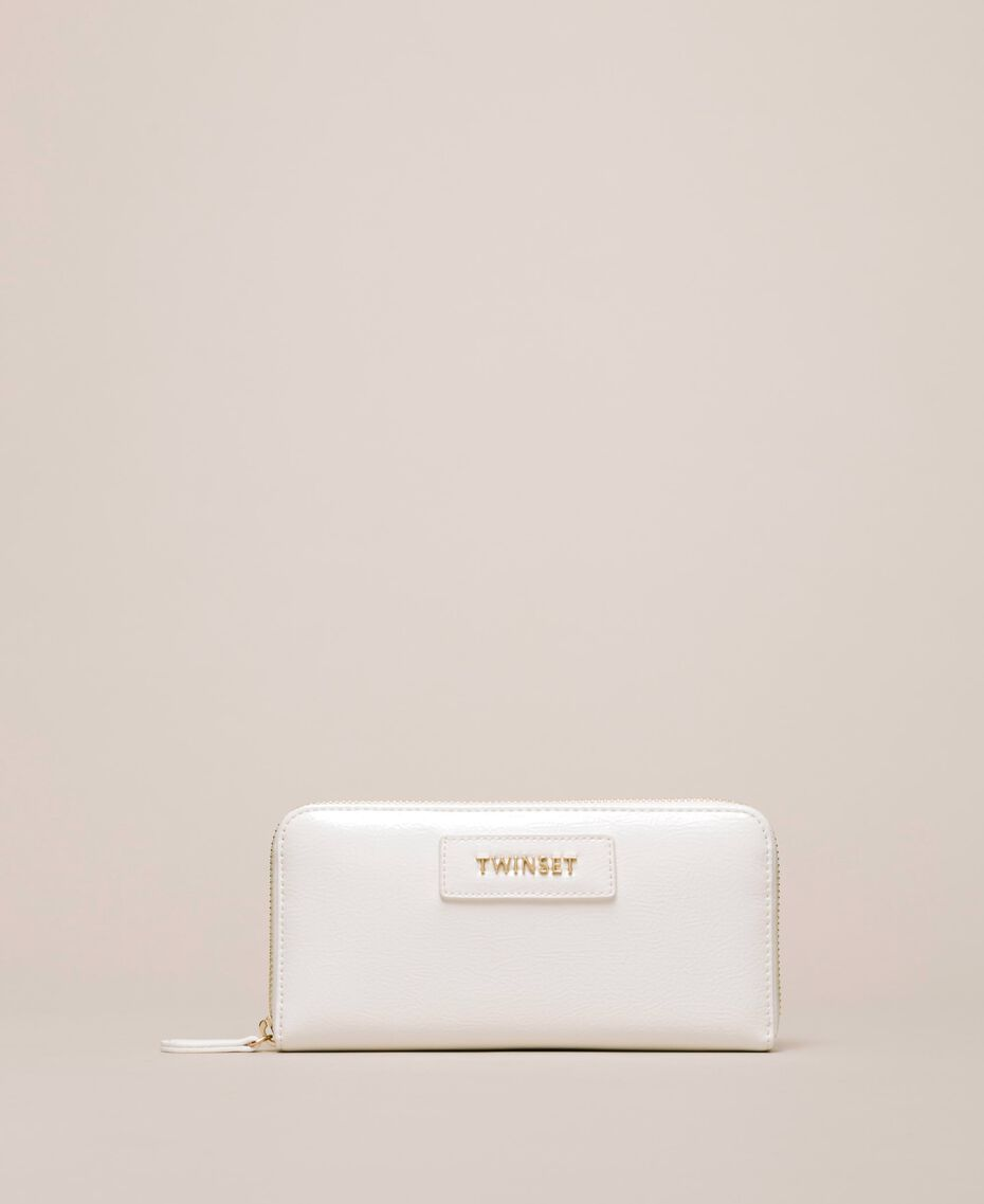 Patent leather effect faux leather wallet White Woman 201TO8270-01