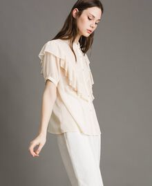 "Crepon ruched shirt ""Milkway"" Beige Woman 191LB21GG-03"