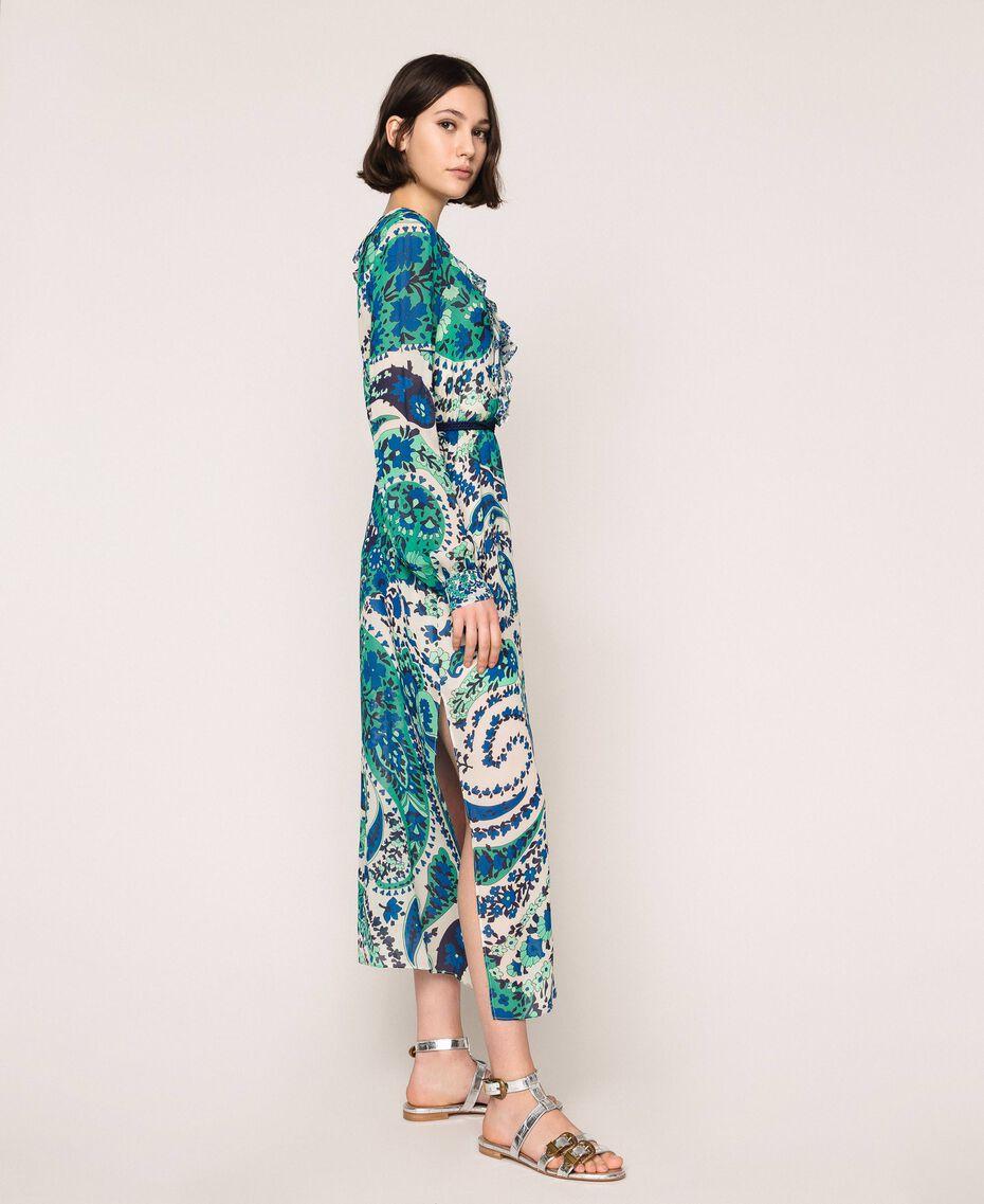 Длинное платье из жоржета с принтом пейсли Принт Кашемир Сапфир / Синий женщина 201TP2533-02