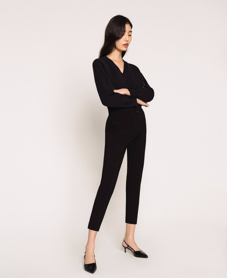 Cigarette trousers with pockets Black Woman 201ST2055-01