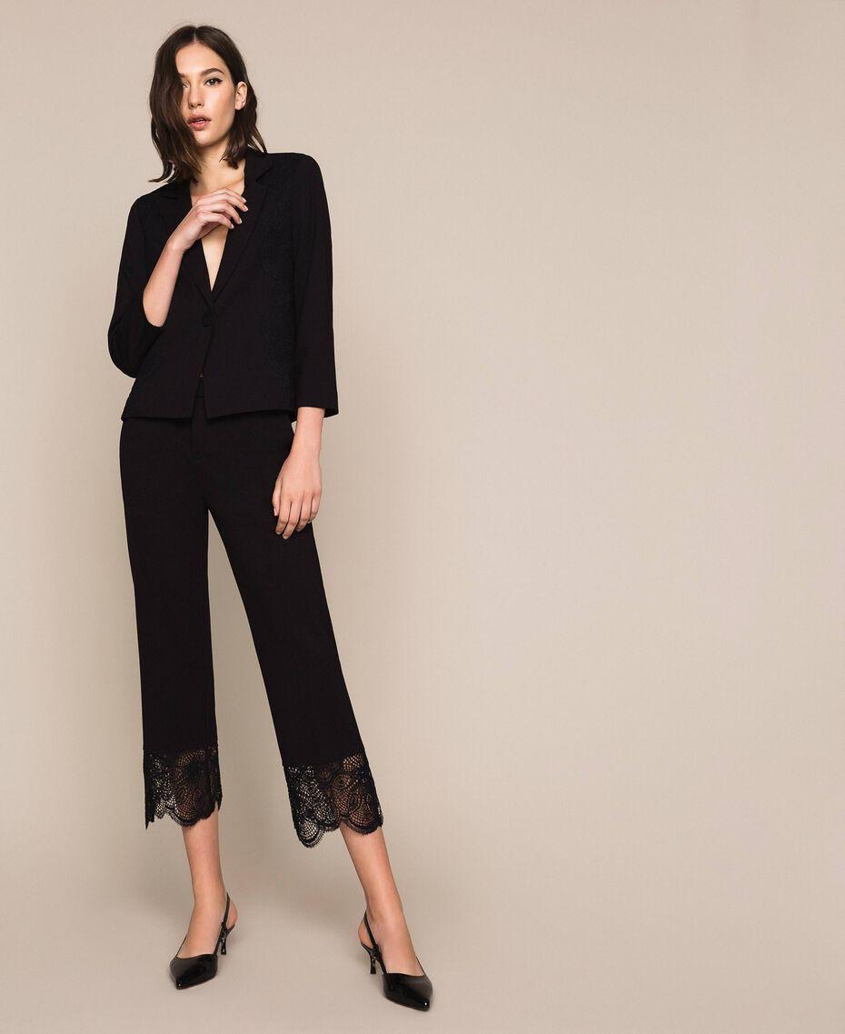 Pantalon avec dentelle Noir Femme 201TP2123-01