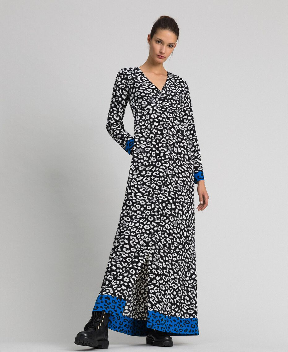 Long animal print dress Black / Lily Animal Print Woman 192MP2370-01