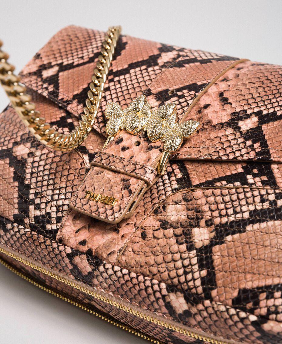 """Große Umhängetasche """"Rebel"""" mit Pythonprägung Pythonprint Pink Mousse Frau 192TA7230-03"""