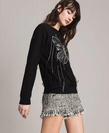 Sweat-shirt avec broderie papillon et franges Noir Femme 191TP2590-02