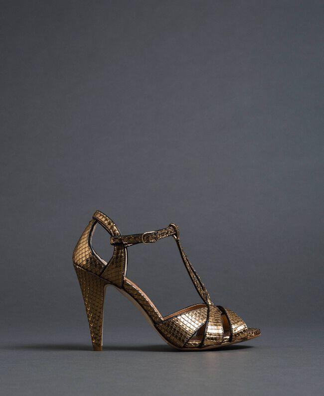 Sandali in pelle laminata animalier Stampa Pitone Oro Donna 192TCT038-03