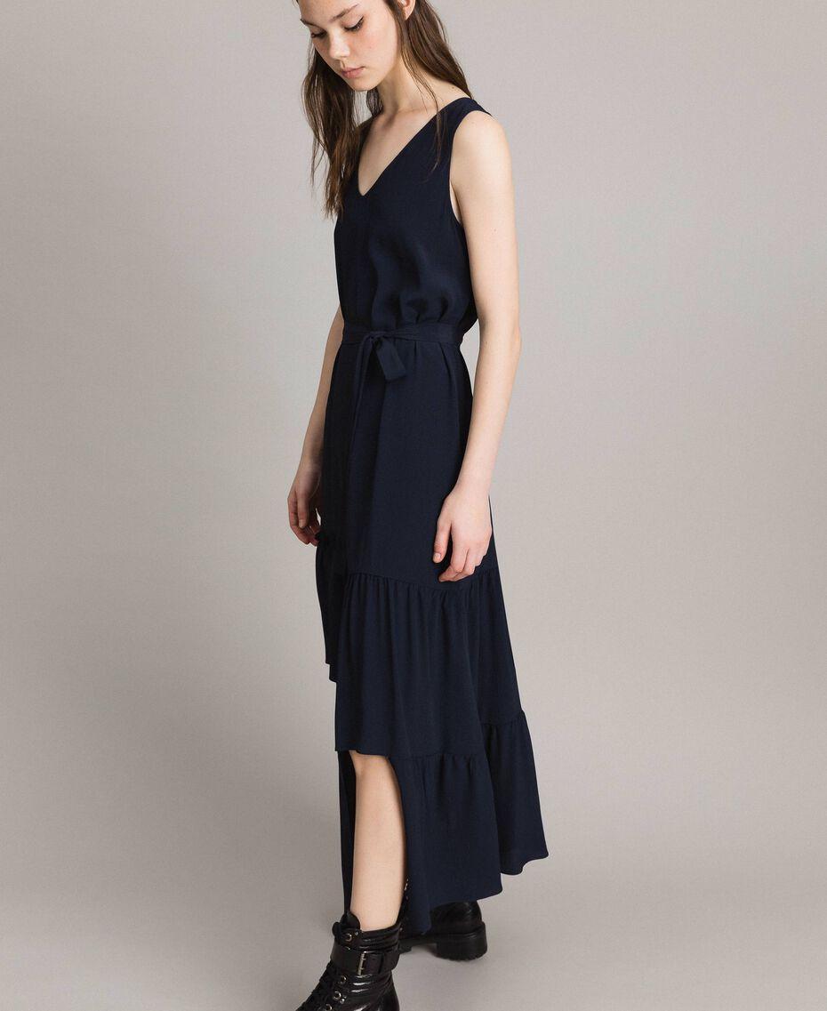 Silk-mix long dress Deep Blue Woman 191TP2461-02