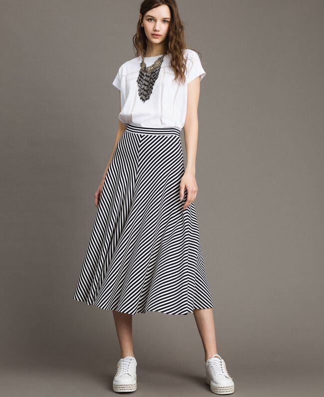 Two-tone striped mid-length skirt Blue Shadow / Off White Striping Woman 191ST2036-01