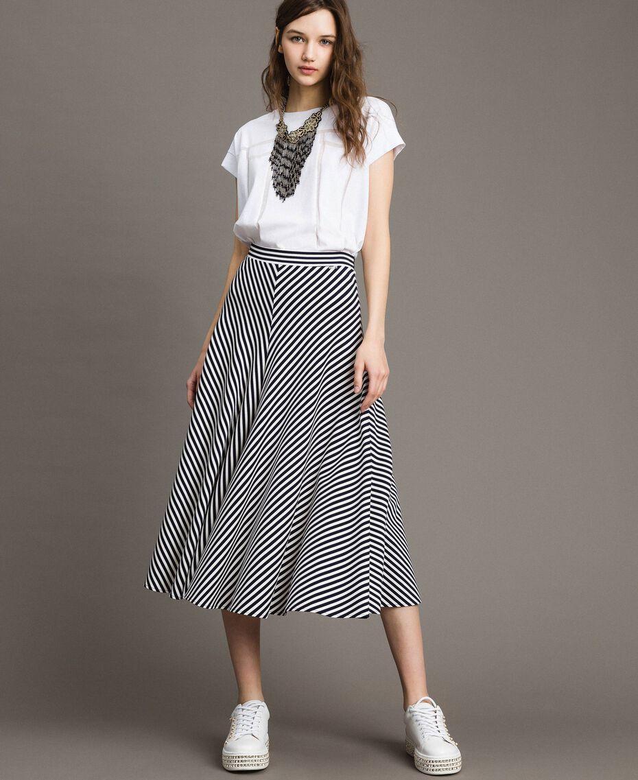 Jupe mi-longue à rayures bicolores Rayures Blanc Cassé / Ombre Bleue Femme 191ST2036-01