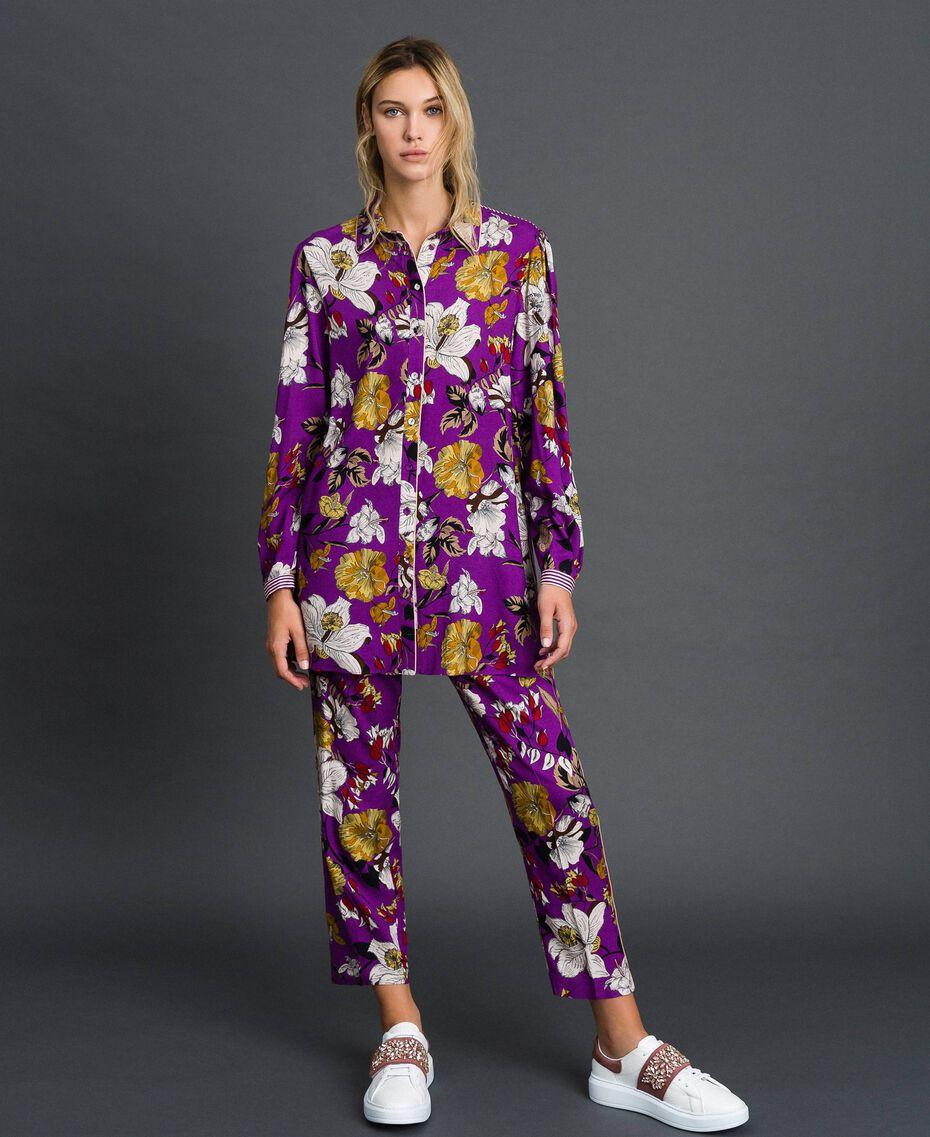 Chemise longue avec imprimé floral Imprimé Fleurs d'Automne Violet Femme 192ST2223-05