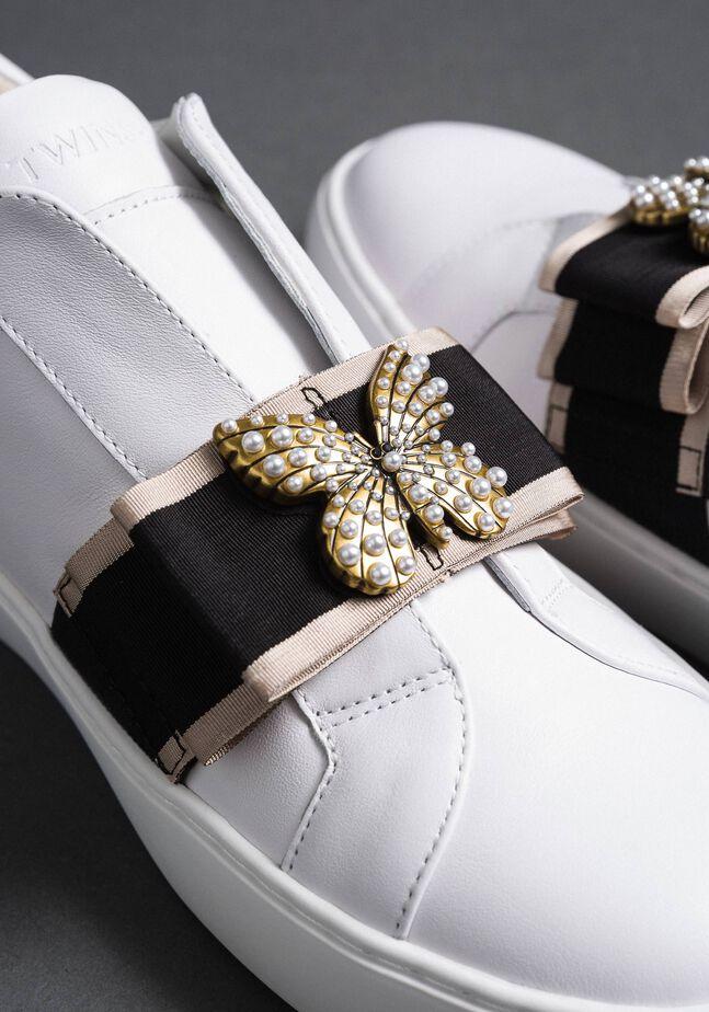 Sneakers aus Leder mit besticktem Band
