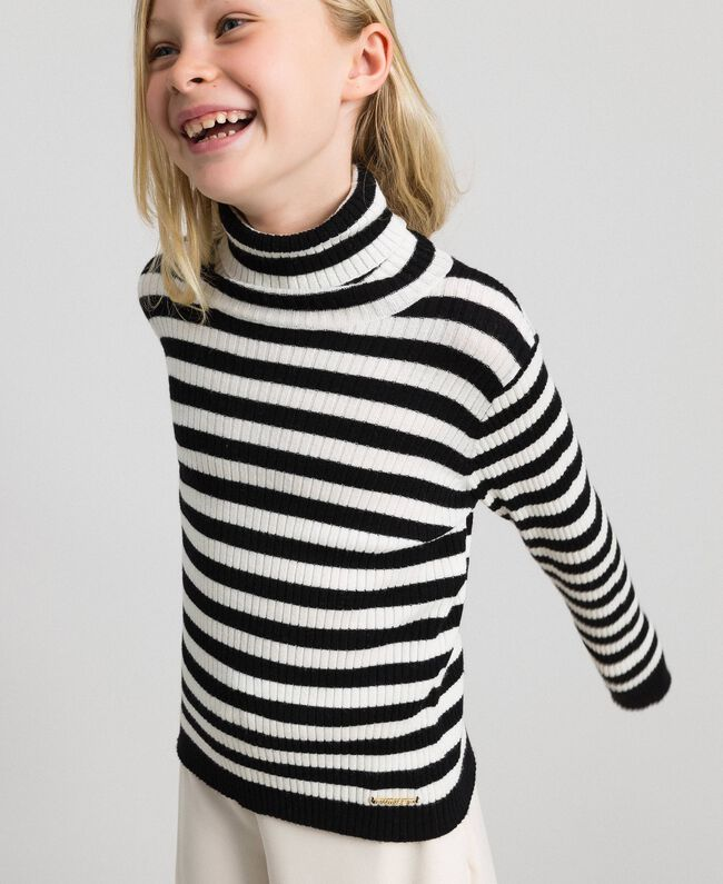 Ribbed mock turtleneck with stripes Ruby Wine Striped Jacquard / Oat Child 192GJ3170-03