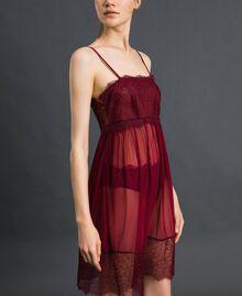 Unterkleid aus Tüll und Spitze Purpurrot / Bleigrau Frau 192LI24YY-02
