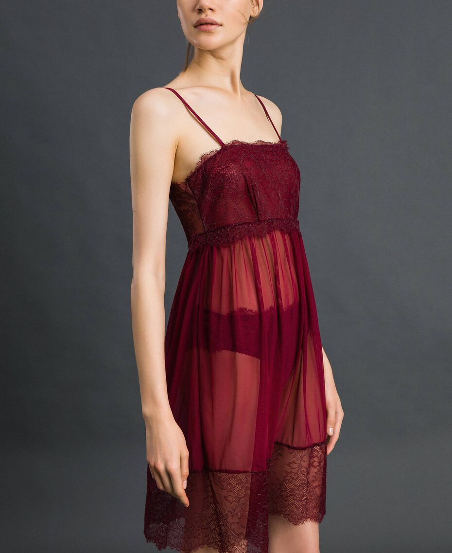 Tulle and lace slip Purple Red / Lead Grey Woman 192LI24YY-02