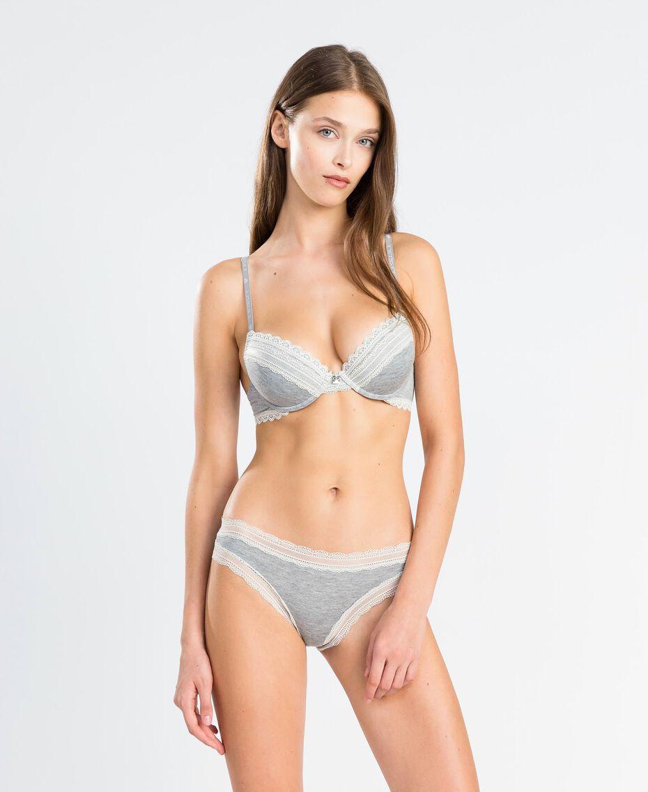 Mélange stretch viscose briefs Medium Gray Mélange Woman LA8B66-0S