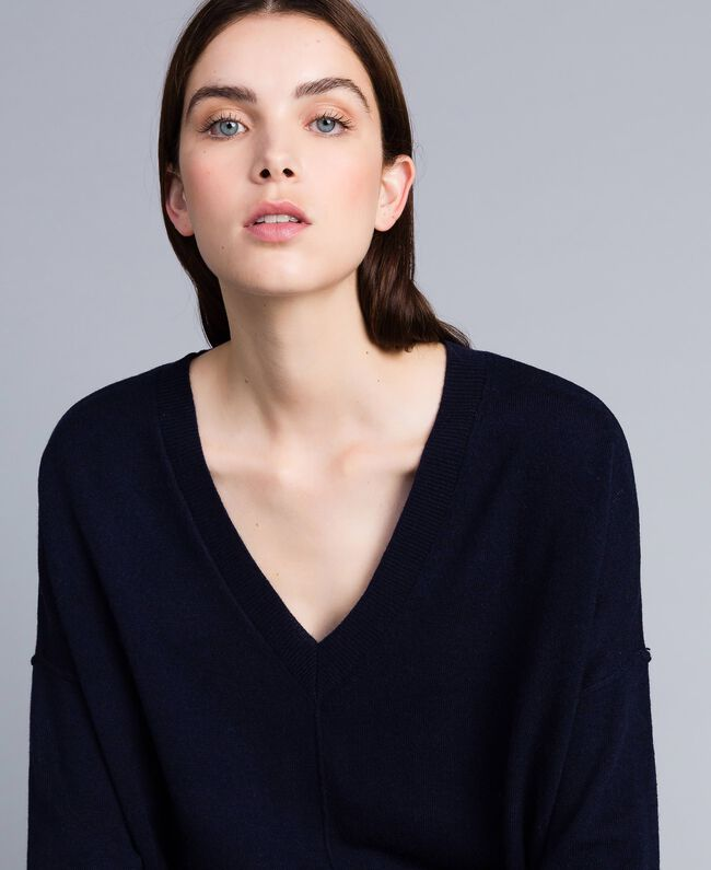 Langer Pullover aus Wolle und Kaschmir Nachtblau Frau TA83AE-04