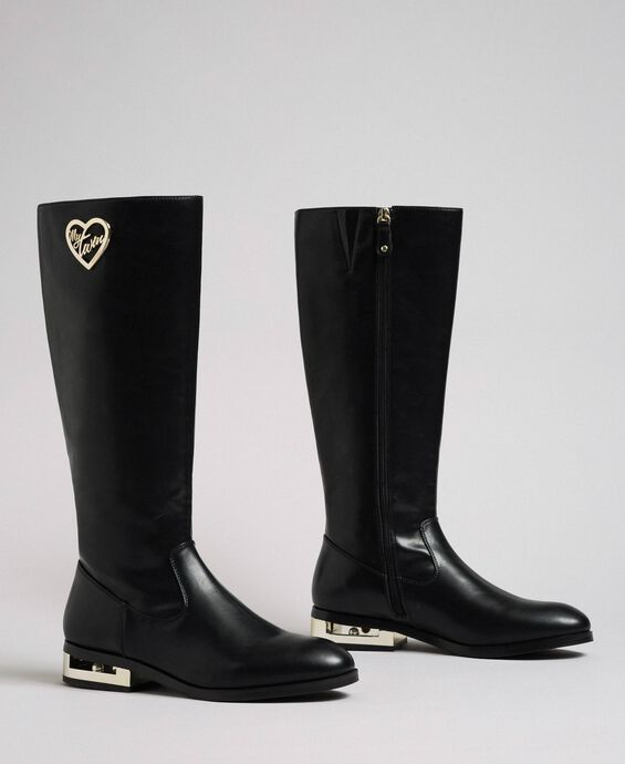 Logo boots with decorative heel