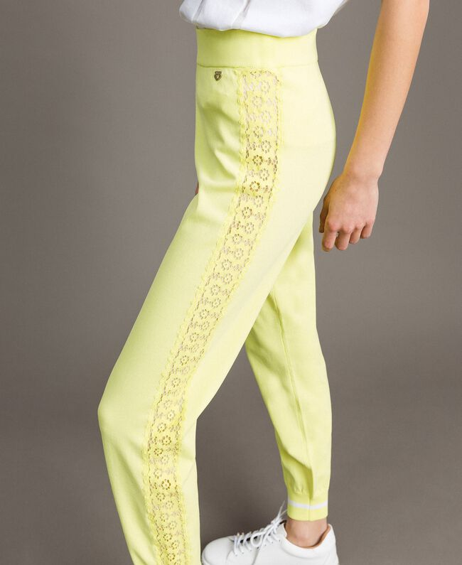 """Jogging trousers with lace-effect panels """"Lemon Juice"""" Yellow Woman 191LL36CC-04"""