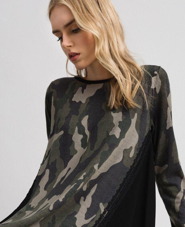 Robe en maille imprimée avec insertions Imprimé Mélange Fleur Noir Femme 192TT3341-01