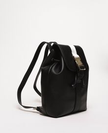 "Faux leather backpack with tuck closure Bicolour Black / ""Ice"" White Woman 201MO8071-01"