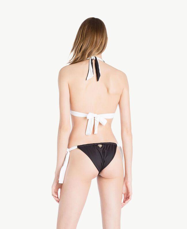 Tanga de bain nœuds Bicolore Noir / Blanc Optique Femme MS8F88-04