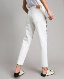 Pantalon en drill avec broderie Blanc Femme 191TT2520-04