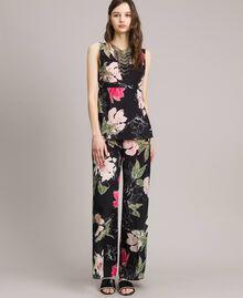 Pantalon en crêpe de Chine à imprimé floral Imprimé Fleur Noir Total Femme 191MT2212-02