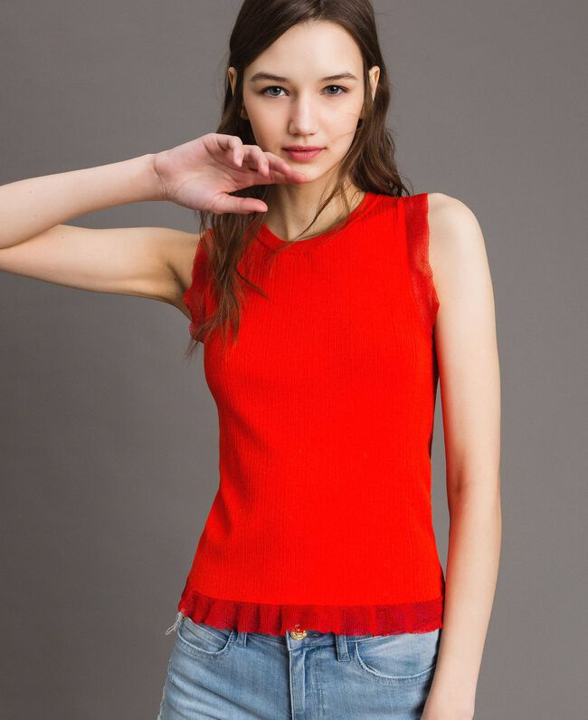 Ribbed top with ruffle Granadine Red Woman 191TT3043-01