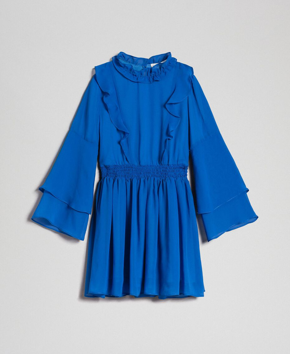 """Robe en crêpe georgette avec volant Bleu """"Méditerranée"""" Enfant 192GJ2350-0S"""