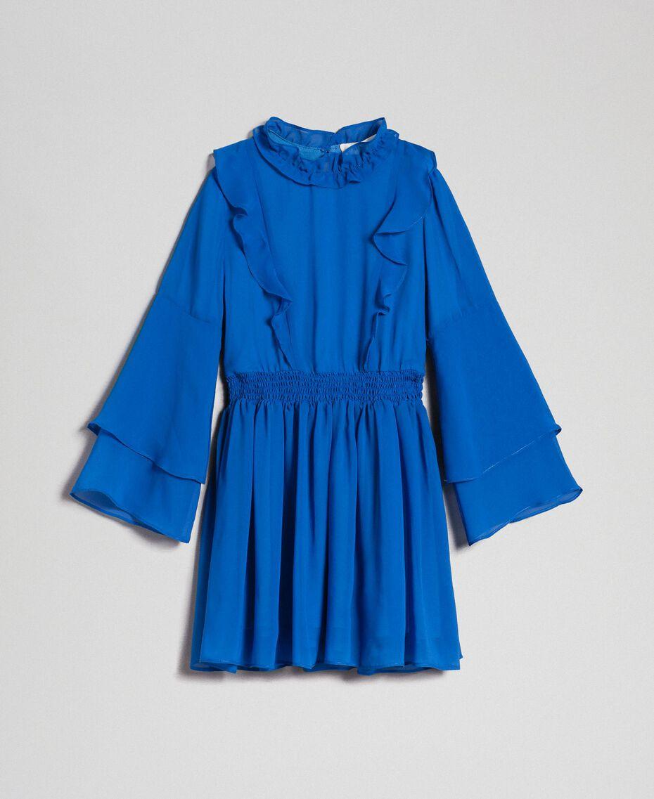 "Georgette dress with ruffles ""Mediterranean"" Blue Child 192GJ2350-0S"