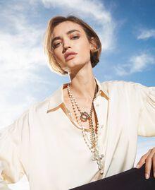 Rosenkranzhalskette mit Perlen und Strass Weiß Pergament Frau 202TO5045-0S