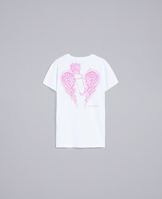 Unisex-T-Shirt für Erwachsene aus Baumwolle mit Print Weiß Frau QA8TMN-10