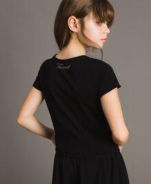 T-Shirt aus Jerseystoff mit Schmetterlingen und Strass Schwarz Kind 191GJ2310-04