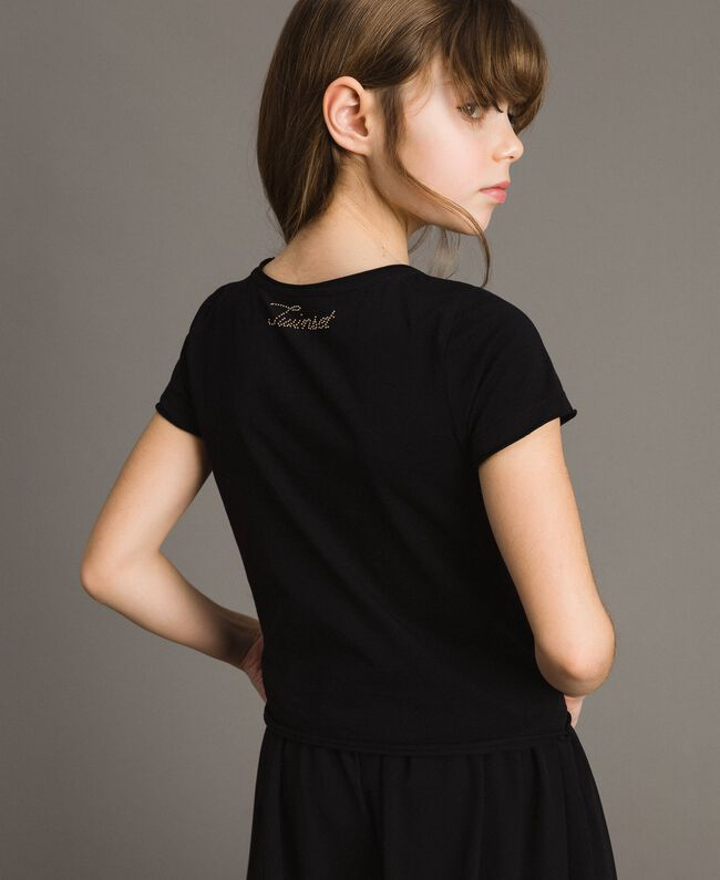 Jersey T-shirt with butterflies and rhinestones Black Child 191GJ2310-04