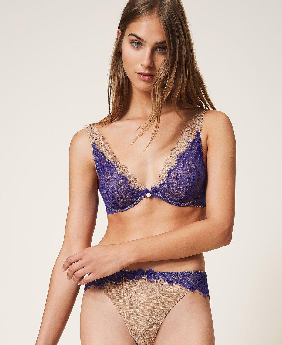 """Reggiseno bralette in pizzo bicolore Bicolor Violet Blue / Marrone """"Amber Dust"""" Donna 202LL6A33-02"""