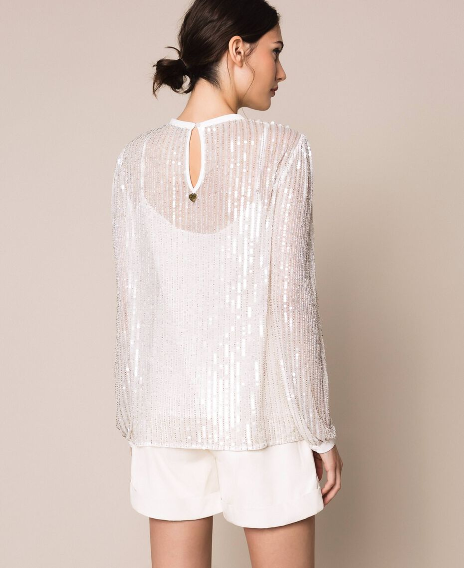 Tulle and full sequin blouse Ivory Woman 201TP2050-03