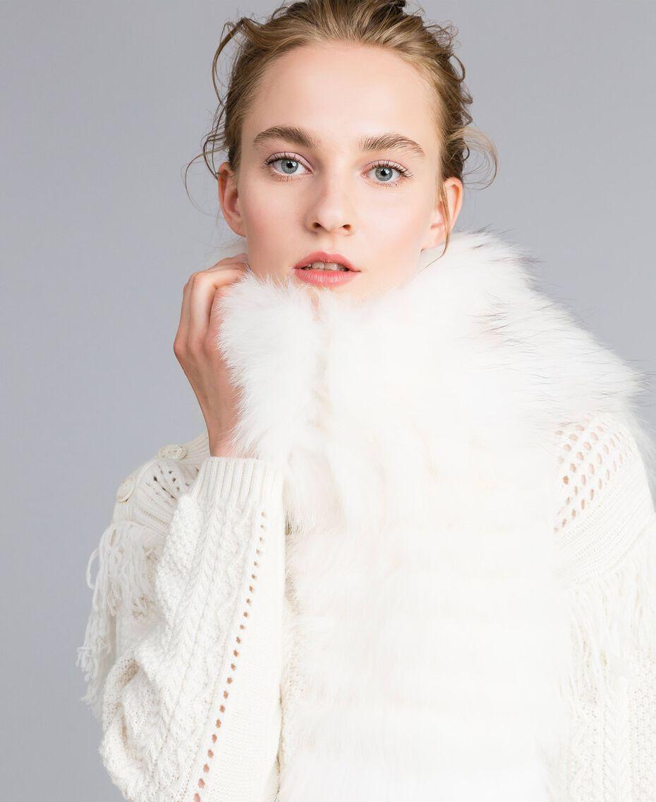 Étole tricotée en fourrure Blanc Neige Femme AA8P9D-0S
