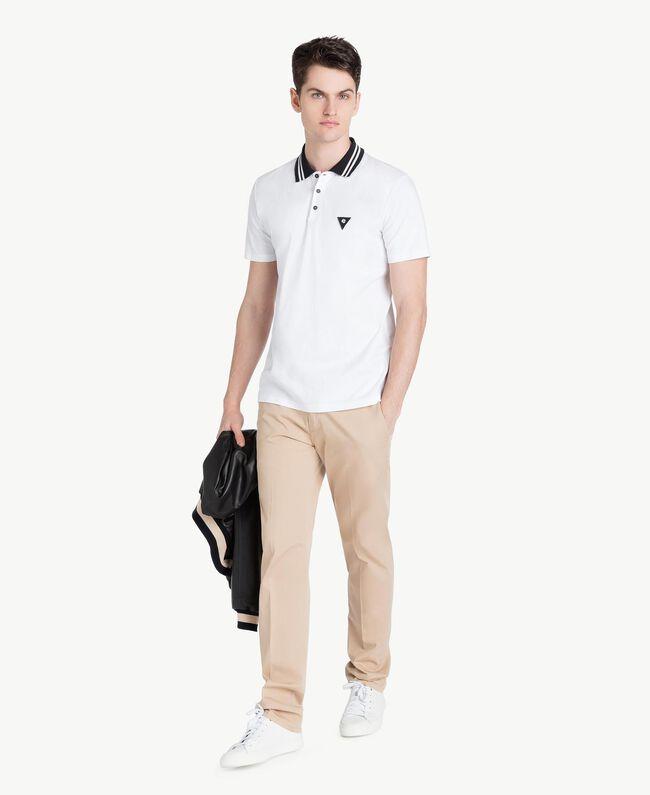 Poloshirt aus Jersey Mattweiß Mann US8221-05
