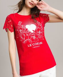 Printed T-shirt with lace Poppy Red Woman 191ST208A-05