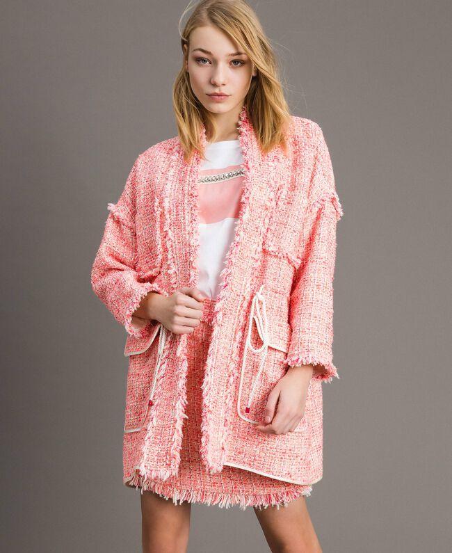 """Blouson oversize en tweed orné de franges Multicolore Bouclé Rose """"Rose Sauvage"""" Femme 191TP2522-01"""