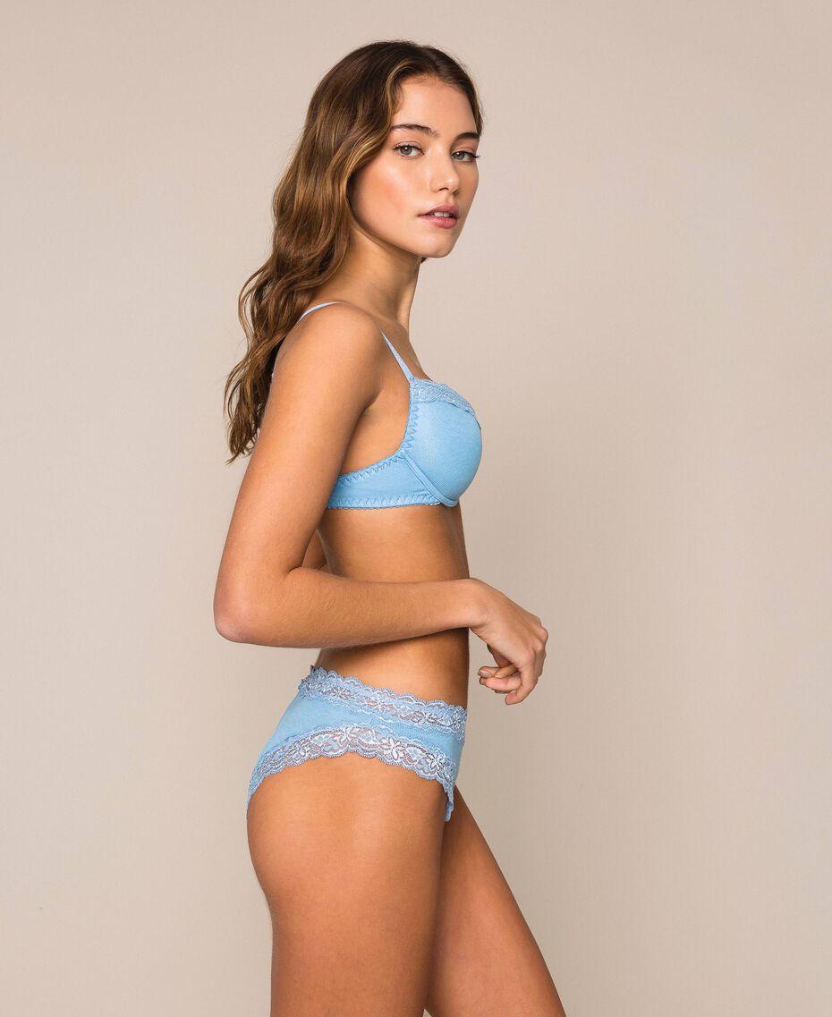 Soutien-gorge push-up côtelé avec dentelle Bleu «Waterfall» Femme 201LL6544-02