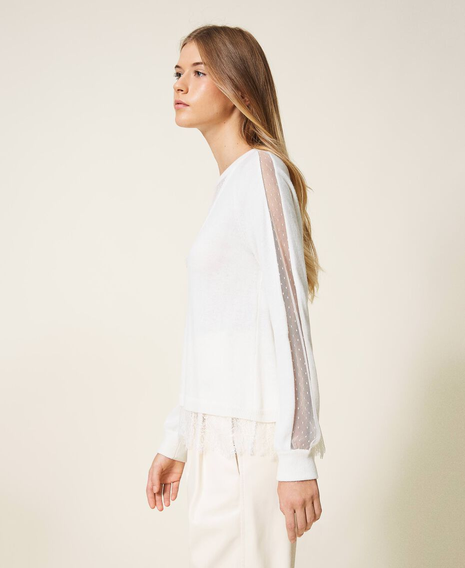 Wool blend jumper with lace White Snow Woman 202TT3133-02