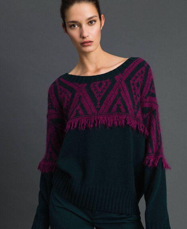 Maxi pull jacquard avec motif ethnique Jacquard Ethnique Vert Foncé / Rouge Betterave Femme 192TP3042-01
