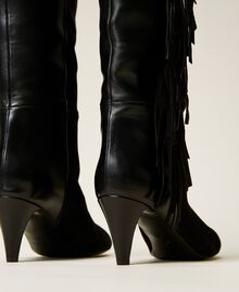 Bottes montantes en cuir avec franges Noir Femme 212TCP10C-03
