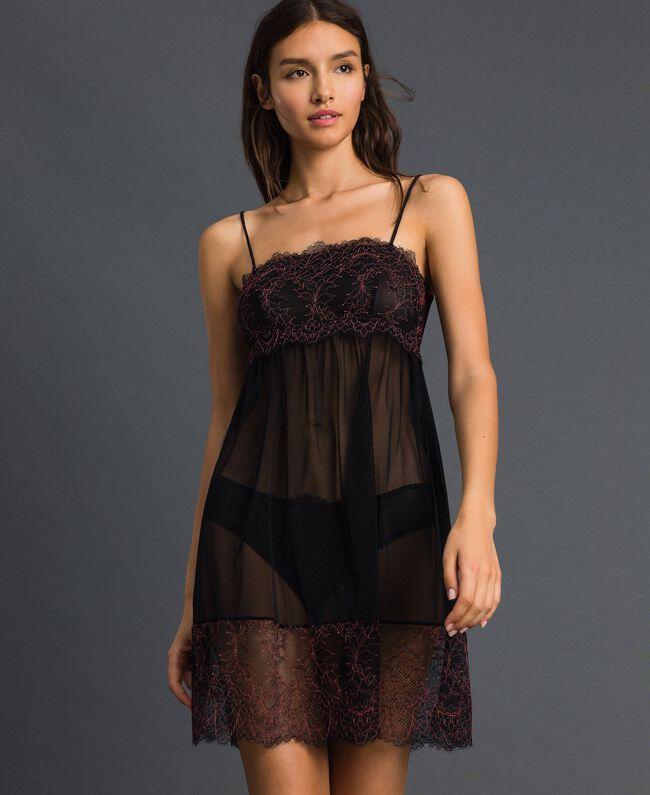 Robe nuisette en tulle et dentelle Noir / Rose «Dolly» Femme 192LI24YY-01