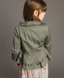Cotton jacket with mini medals Tundra Green Child 191GJ2070-03