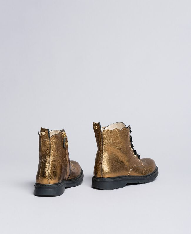 Bottines en cuir avec feston Marron Caramel Enfant HA88CE-04