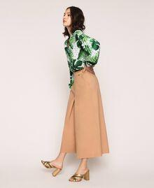 Pantalon cropped en popeline Marron Clair Femme 201ST202C-02