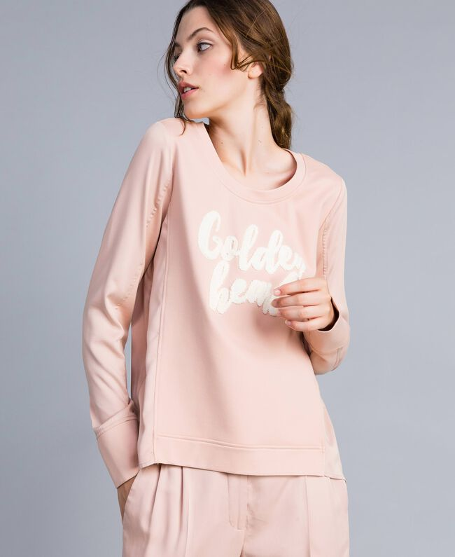 Sweat en satin avec broderie Rose Ballerines Femme IA83FF-01