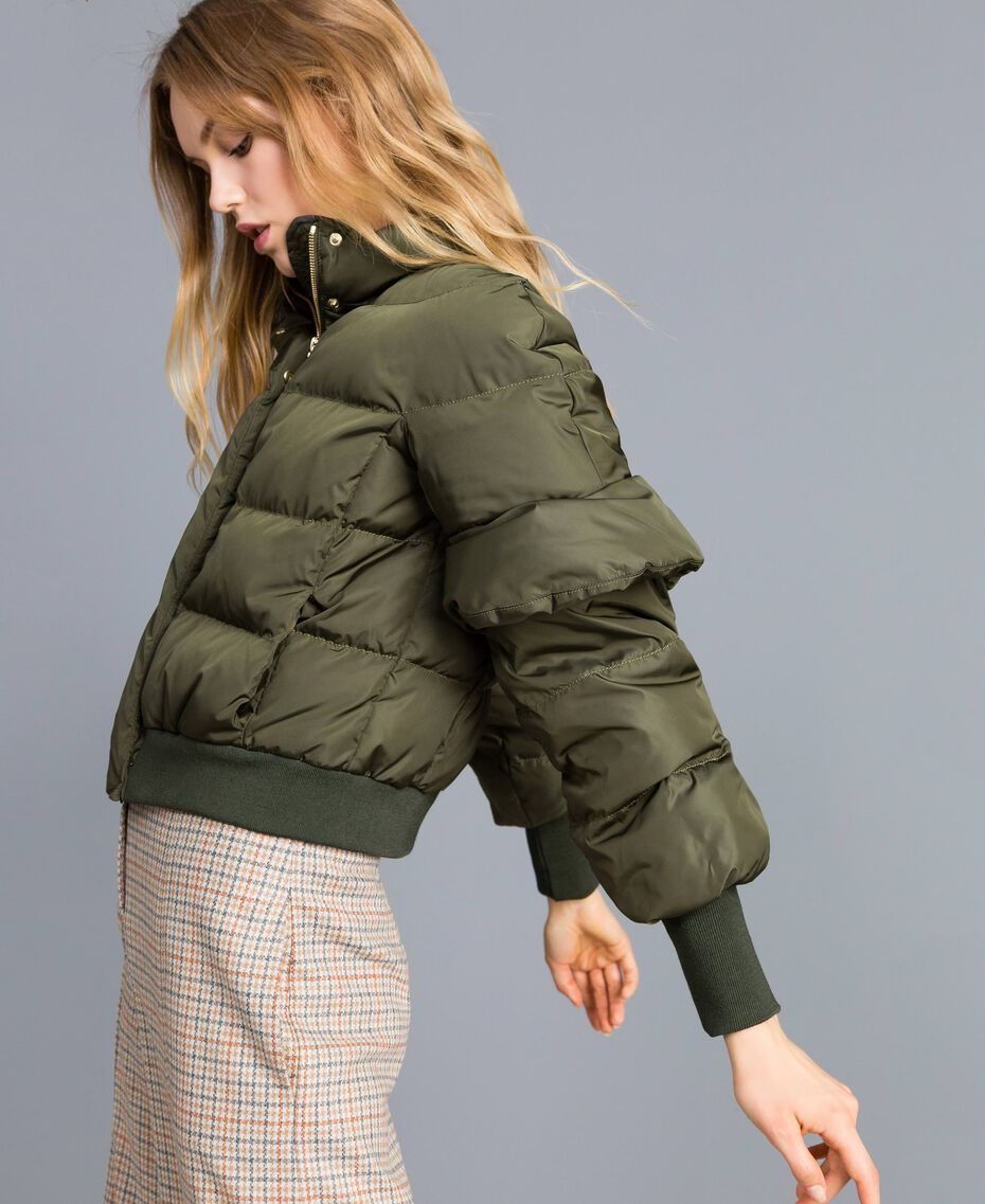 Short padded jacket with ruches Forest Green Woman TA82B5-01