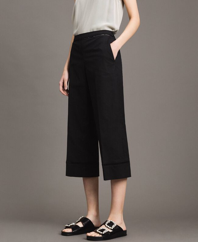 Poplin trousers with embroideries Black Woman 191TT2244-03